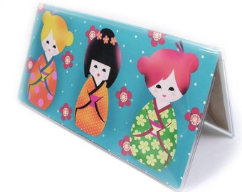 Checkbook Cover - Cute Kawaii Kokeshi - summer brights - Japanese doll print - turquoise, hot pink - sakura cherry blossoms side tear option