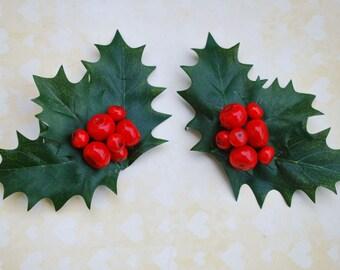Spezielle Stechpalmen und roten Beeren paar Clips Haarblume Hochzeit Braut-Pin up Vintage shabby-Stil