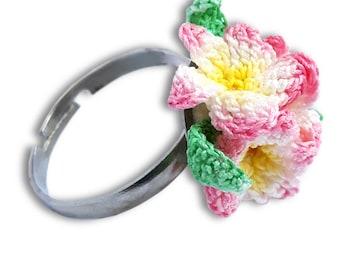 Fabric flower jewelry, Textile flower, Textile floral, Textile ring, Textile art jewelry, Textile gift, Crochet ring, Crochet flower ring