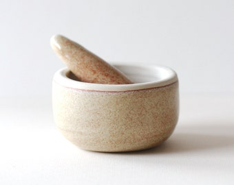 Ceramic mortar and pestle kitchen tool / oatmeal / made to order