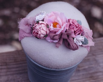 Pink Mauve Flower Crown- photography prop