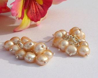 Pale Peach Pearl Cluster Earrings