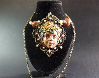 """Ooak decoration necklace with fantasy """"Sunflower"""""""