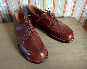 Amazing French NOS 1940's Rusty Brown Leather Derbys for Women - Size EUR 38