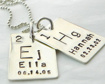 Personalized Periodic Table Element hand stamped sterling silver necklace - 2 Element Tags