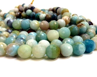 Full Strand 6, 8, 10 and 12 mm Natural Amazonite - Faceted Round Beads 1.2 mm hole (G2158AZ38-BH6N8M)