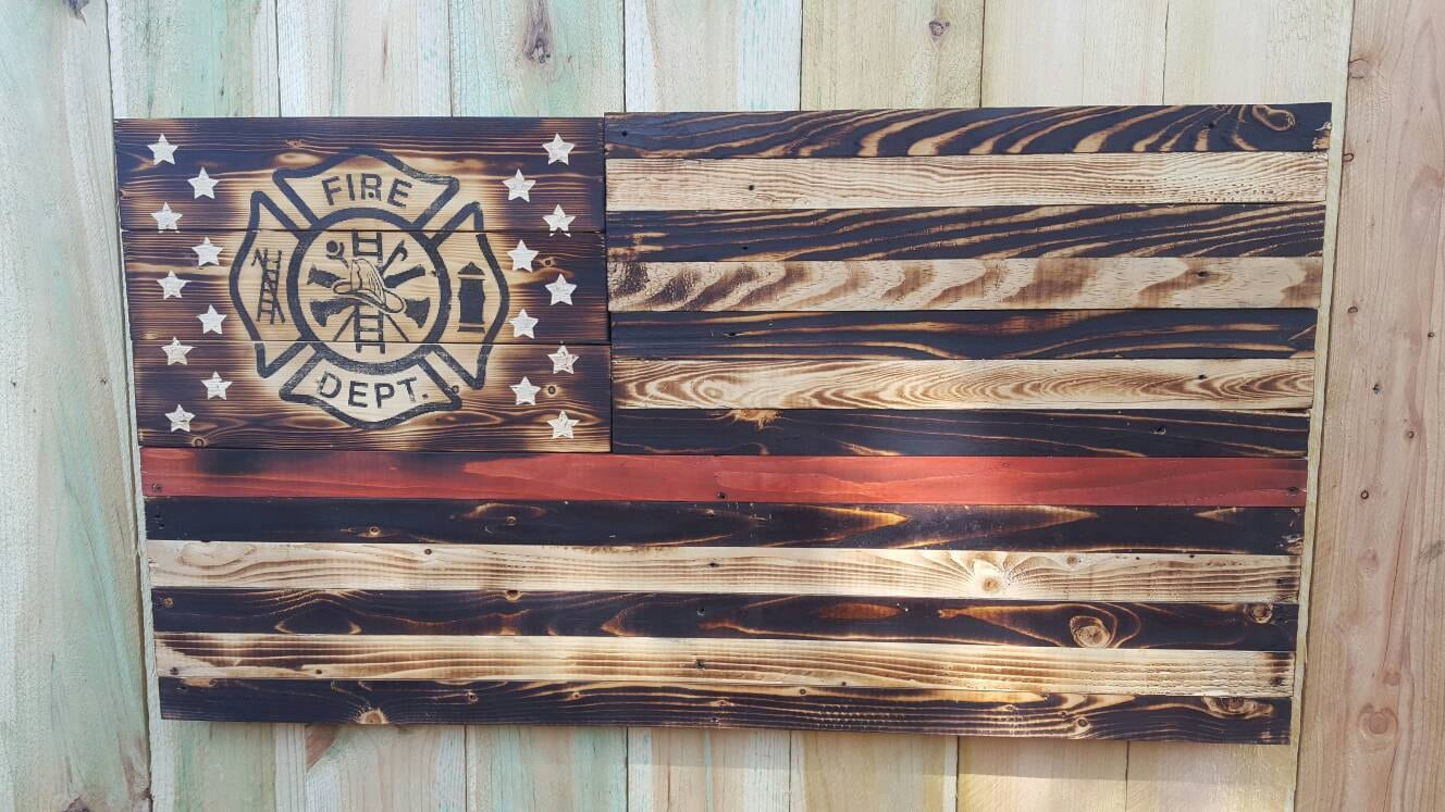 Thin Red Line Wood Flag Thin Red Line Firefighter Maltese