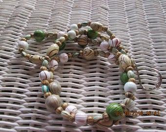829 Womens Wood bead mix handmade beaded lanyard/id badge-Mens wood bead mix handmade beaded lanyard