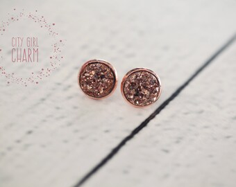 Earrings,Beautiful Faux Druzy Earrings, Druzy Studs, Rose Gold, Rose Gold Earring Settings, Bridesmaid Gifts, Gift Ideas, 12mm