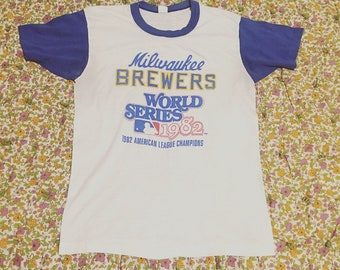 Vintage 1980s Milwaukee Brewers Tshirt // Baseball Ringer Tee // 1982 World Series American League Champions MLB Size Small