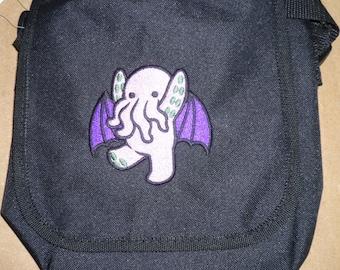 Cute Cthulhu Bag, Kraken Reporter Bag, Lovecraft bag, 1920's gothic horror necronomicon arkham dunwich mythos cute cthulhu, crossbody bag