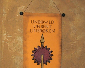 "Hand Painted  House Martell ""Unbowed Unbent Unbroken"" Canvas Banner - Game of Thrones - Sunspear  - Sigil -  Red Viper - Sand Snakes"