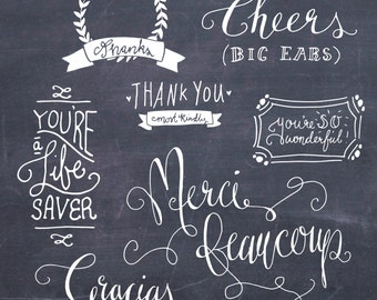 CLIP ART: Thank You Photoshop Overlays 1 // Fully Layered psd Editable Vector eps  // Digital // Thankyou Thanks French // Brush Stamp