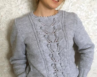 Hand Knitted Women's Sweater, Women's Knitted Sweater, Handmade Sweater, Light GRAY color,Wool,beautiful pattern,SHIPPING FREE