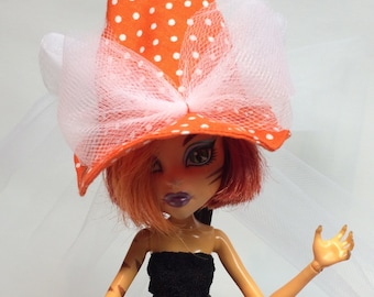 Orange and White Polka Dot Witch Hat for your Monster High Girl Doll or Ever After Doll