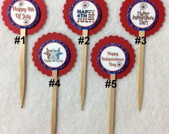 Set Of 12 4th Of July Independence Day Cupcake Toppers (Your Choice Of Any 12)