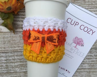 Candy Corn Cup Cozy, Candy Corn, Coffee Cozy, Sleeve, Autumn, Drink Sleeve