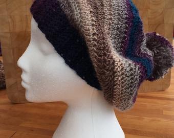 Ladies crochet hat, slouch hat