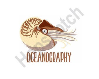 Oceanography - Machine Embroidery Design, Nautilus Shell