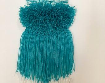 Woven wall hanging, tapestry weave, fiber art, wall art