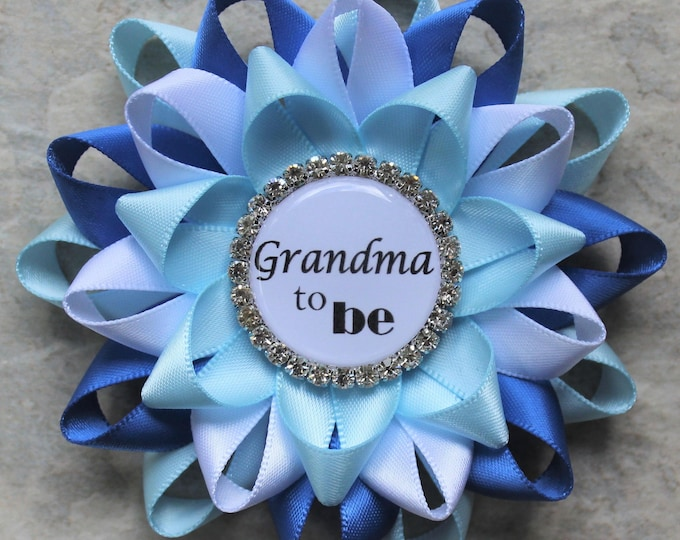 New Grandma Gift, New Mommy Gift, Personalized Baby Shower Corsage Pins,  Baby Boy