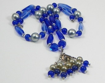 Vintage Blue Glass Beaded Necklace with Tassels