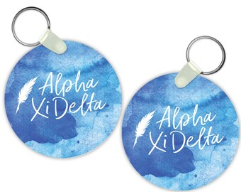 AXiD Alpha Xi Delta Watercolor Script Keychain Sorority Gift Sorority Keychain