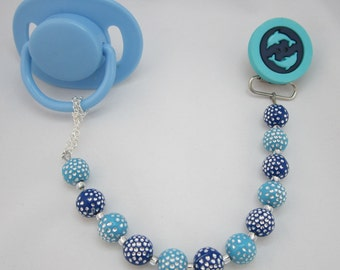 Blue Dolphins Pacifier clip with Acrylic Beads (CPD)