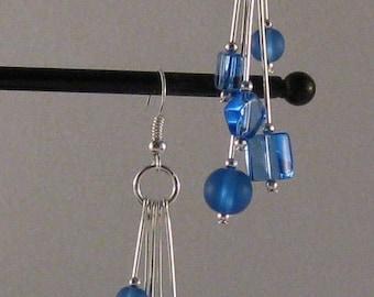 Blue Glass Cluster Beads Drop Earrings