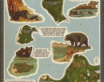 Sleeping Bear Dunes, Michigan - Sleeping Bear Dunes Legend Map (Art Prints available in multiple sizes)