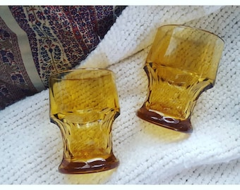 Vintage Amber / Yellow Glass Tumblers / Drinking Glasses