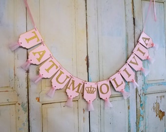 Girl's Name Banner with Crowns, Chevron Embossed Pink and Gold Banner, Princess Birthday Banner, Baby Shower Banner, Nursery Banner