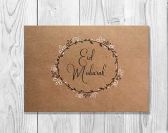 Hand Drawn Eid Mubarak Cards - Set of 5 - Eid Greeting Card - Happy Eid - Islamic Cards - Muslim Cards - Islamic Greetings - Eid