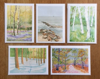 Watercolor Print Greeting Card Set ( 5 Cards )