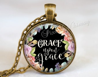 SCRIPTURE Necklace Bible Pendant Jewelry, Christian Necklace, Bible Keychain, Quote Necklace Pendant, Inspirational Quote, Psalm, Grace