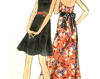 Butterick 6496 Long or Short 1970s Halter Dress Bust 34  ©1972