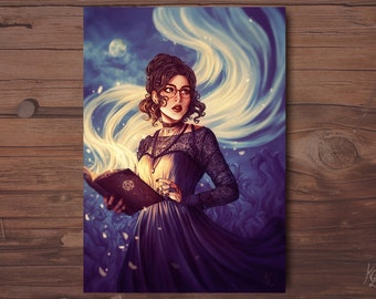 A6 postcard - Witch and spellbook card