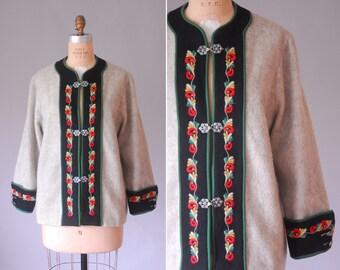 Melhus Norwegian wool coat   vintage embroidered wool cardigan   wool jacket