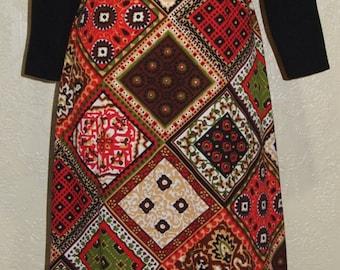 maxi dress Bleeker Street 70's vintage dress COLOR BLOCK PATCHWORK dress size 8-10