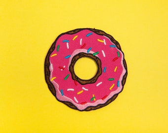 Doughnut Patch - Made with Vegan Iron-On Adhesive - Embroidery Sewing DIY Customise Denim Cotton Pink Cute Kawaii