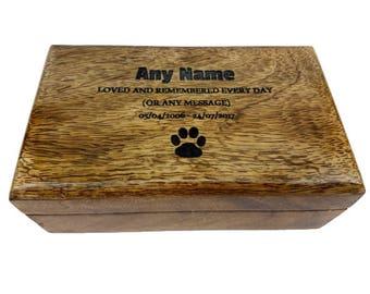 Large Medium Small Mango Wood Personalised Pet Urn Dog Cat Pet Cremation Box Ashes