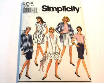 Vintage 1990s Simplicity 8294 Misses shorts, top and unlined jacket separates business wear sewing pattern