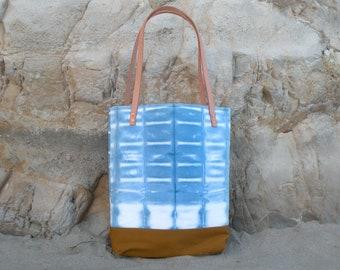 Itajime Shibori Tote Bag, Indigo Dye Block Dye Pattern, Canvas Tote Bag, Beach Bag, Handmade Hand Dyed Purse, Blue Market Bag, Leather Strap