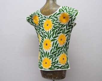 Embroidered Mexican Blouse. Mexican Embroidered Huipil. Embroidered Mexican Top. Mexican Huipil. Sunflowers
