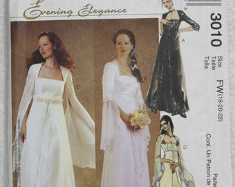 Sz FW 18, 20, 22 McCall's  Sewing Pattern 3010 Evening, Bridal, Wedding or Bridesmaid Gown Empire Bodice Long Flowing Sleeves
