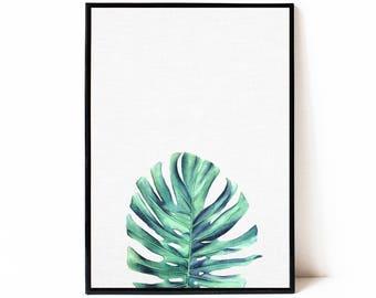 Watercolor tropical leaf printable art, tropical leaf printable poster, instant download print, tropical wall art, botanical wall art print