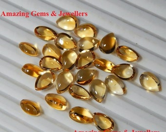 CITRINE Pear Shape Cabochon Loose Gemstone, Mix Size Top Quality Natural CITRINE loose Gemstone 10pcs,15pcs,25pcs lot.