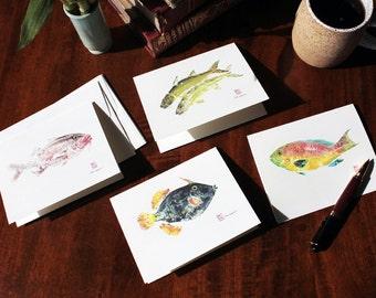 Greeting cards set of 4, gyotaku, fish prints, Hawaiian indigenous fish art cards