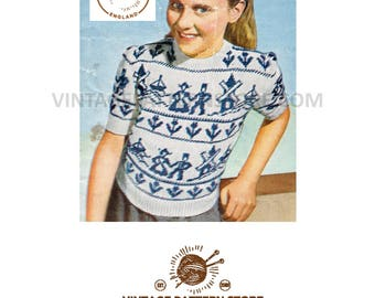 "Girls 1950s, dutch fair isle, round neck, short raglan sleeve sweater - 29.5"" chest - Vintage PDF Knitting Pattern 277"