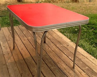 Table Red Dining Chrome 1950 Crackle